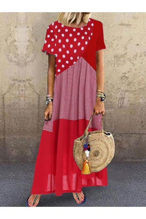 Short Sleeve Polka Dots CottonBlend Dresses