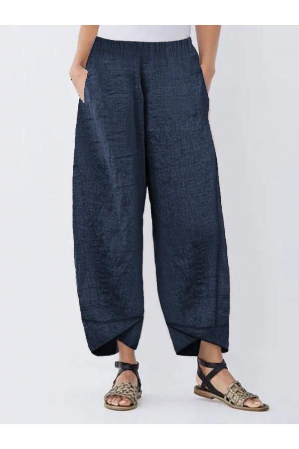 Elastic Waist Irregular Casual Solid Color Pants