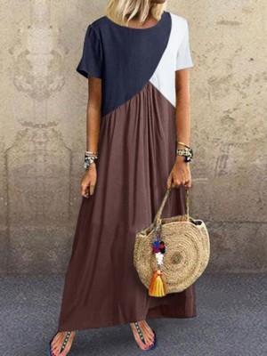 Crew Neck Brown Women Shift Beach Cotton-Blend Maxi Dresses