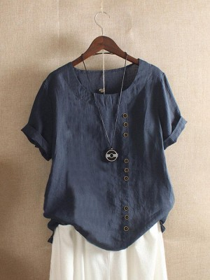 Solid Color Short Sleeve Button Summer T-Shirt