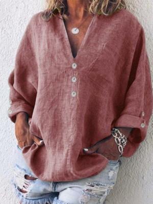 Buttoned V-Neck Cotton-Blend Blouse