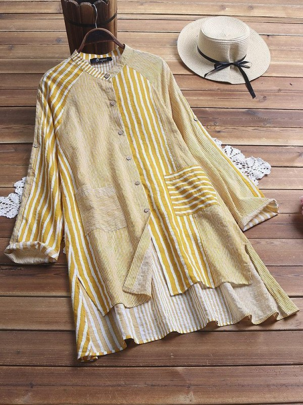 Vintage Striped Patchwork Pocket High Low Long Sleeve Plus Size Shirt