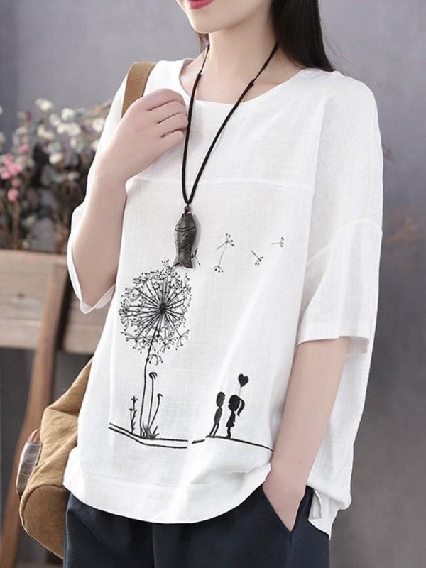 Summer Print Flower Casual Short Sleeve Cotton TShirt