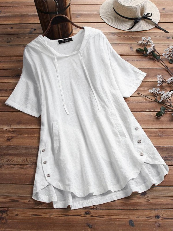 Plaid Button Hooded High Low Short Sleeve Plus Size Blouse with Pokcets