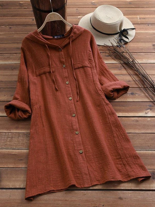 Solid Color Drawstring Hooded Long Sleeve Blouse