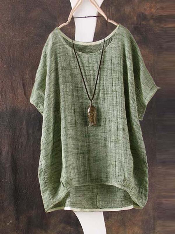 Crew Neck Short Sleeve Bamboo Fiber Shirt
