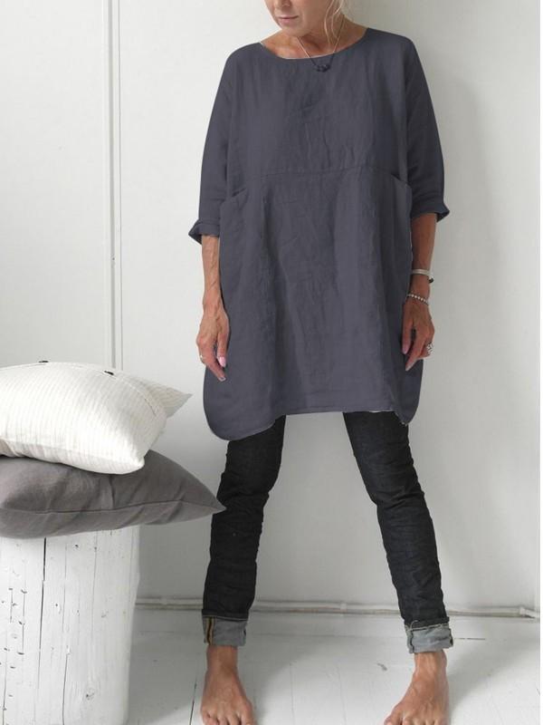 Linen 3/4 Sleeve Casual Blouse