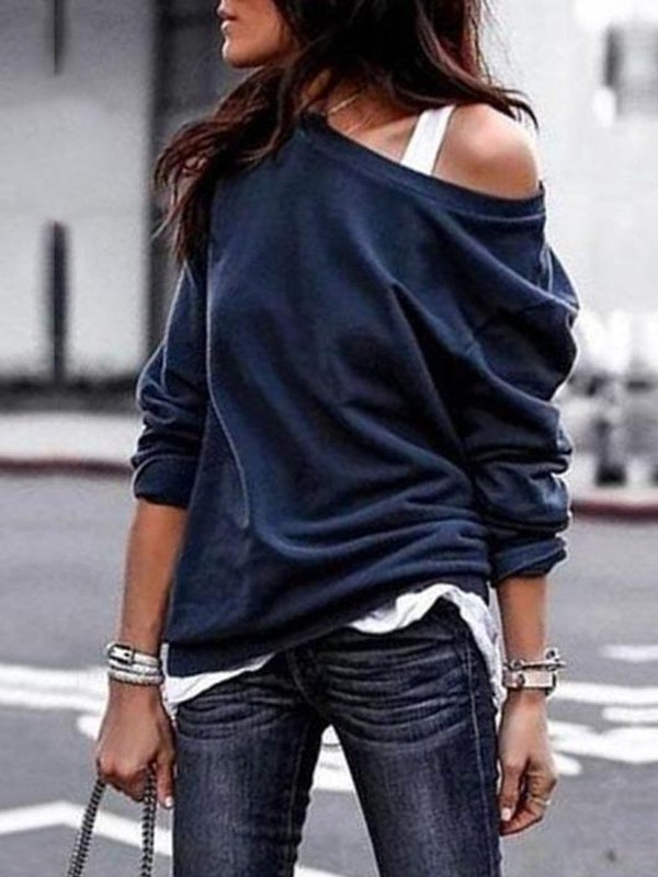 Solid Color Round Neck Offshoulder Sweatshirt