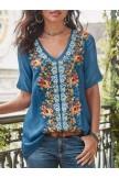Floral Print Vneck Short Sleeve Casual Tshirt