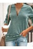 Casual Daily Zipper Tshirt Plus Size