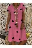 V Neck Short Sleeve Summer Midi Dresses