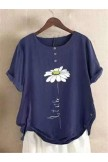 Casual FloralPrint Cotton&Linen Short Sleeve Shirts & Tops