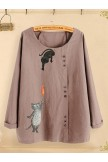 Ladies Casual Long Sleeves Tops Linen Blouses With Cartoon Cat Printing