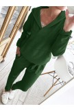 Hoodie Knitted Two Pieces Pants Sets Suits