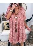 Women Floral Printed Short Sleeve Vintage Mini Dresses