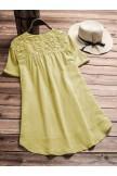 Vintage Floral Embroidery Patchwork Irregular Short Sleeve Blouse
