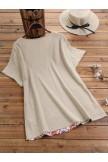 Vinatge Print Patched Cotton Short Sleeve Shirt