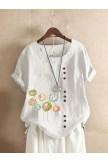 Button Cartoon Floral Print Short Sleeve Casual Tshirt