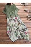 Literary Floral Twopiece Set Linen Dress