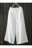 Wide Leg Solid Color Loose Elastic Waist Casual Pants
