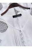 Vintage Print Patchwork V Neck Maxi Dress With Pockets
