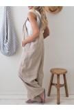 Retro Casual Loose Cotton Linen Wide Leg Jumpsuit