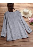 Side Buttons Stripe Cat Embroidered Patchwork Vintage Long Sleeve Blouse