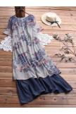 Summer Patchwork Print Plus Size Vintage Maxi Dress with Pockets