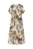 Pleated Leaves Floral Print Vintage Dress