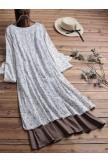 Vintage Patchwork Floral Print VNeck Plus Size Dress with Pockets