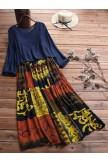 Two Picecs Ethnic Print Vintage Maxi Dress For Women