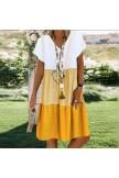 Ladies casual Vneck printed short sleeve dress