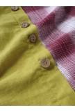 Casual Patchwork Button High Low Hem Plus Size Dress