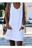 Crew Neck Dresses Shift CottonBlend Mini Dresses