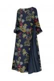 Floral Print Patchwork Plus Size Dress
